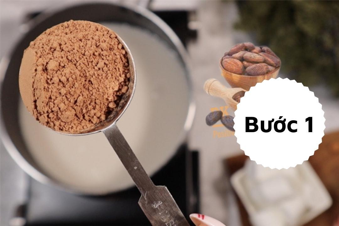 Bước 1: trộn bột cacao, sữa đặc