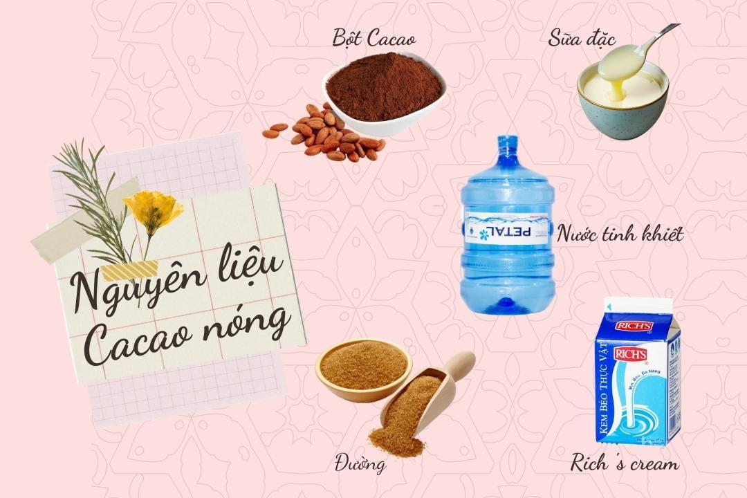 Các nguyên liệu để làm Cacao nóng