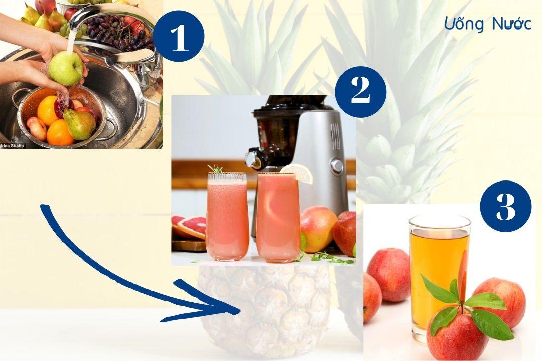 3 bước thực hiện nước ép táo thơm
