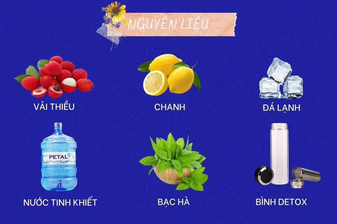Nguyên liệu làm nước detox vải thiều