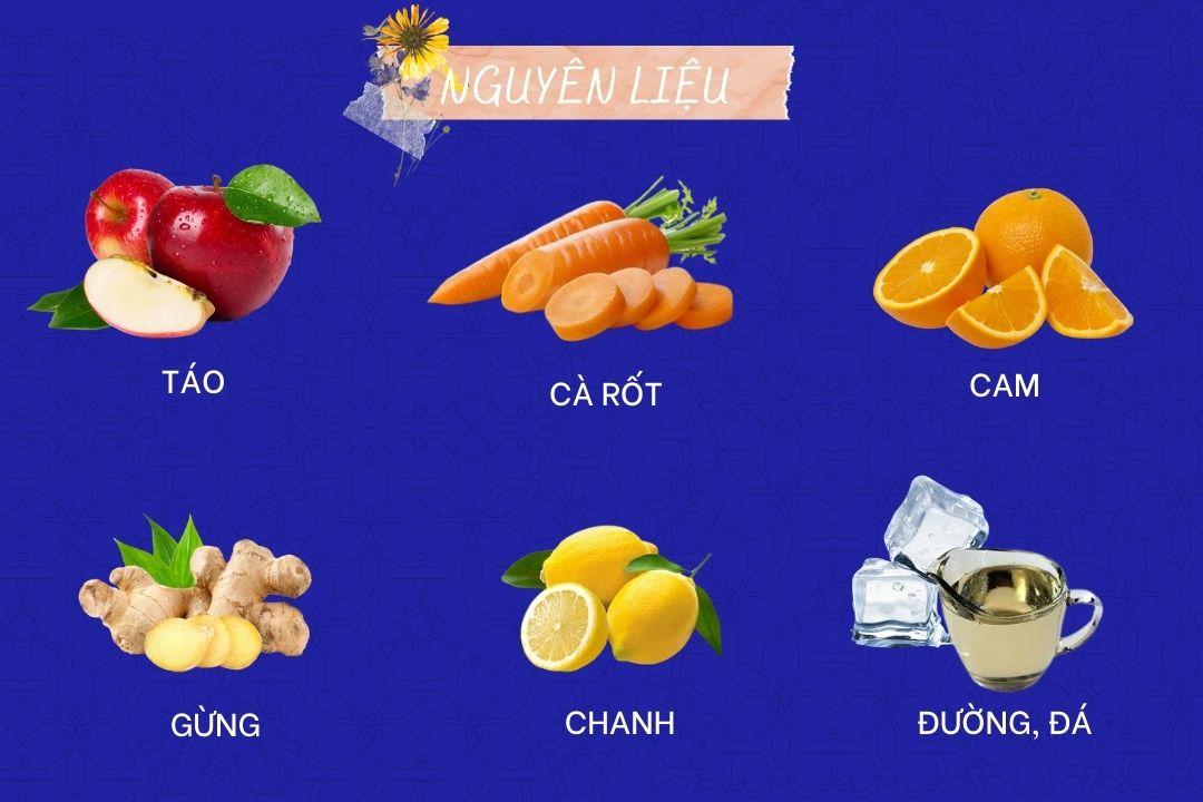 Nguyên liệu của nước ép táo, cam và cà rốt